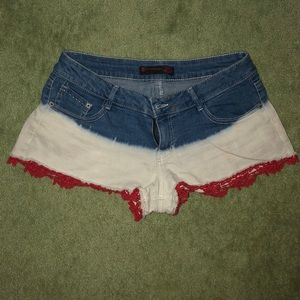 RED WHITE AND BLUE Jean shorts
